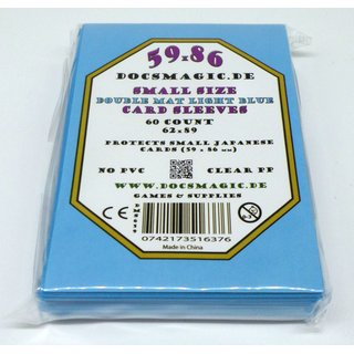 4 x 60 Docsmagic.de Double Mat Light Blue Card Sleeves Small Size 62 x 89 - Hellblau - Mini Kartenhüllen - YGO